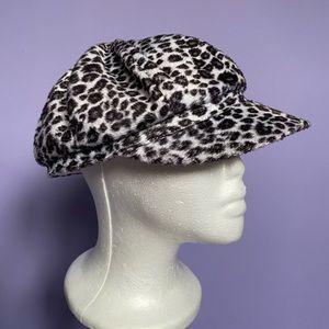 Bratz-Style Y2K Faux Fur Leopard Print Cabby Hat